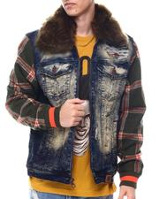 Makobi - MALACHY DENIM JACKET W/ Faux FUR COLLAR-2570957