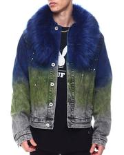 Outerwear - GRADIENT PAINT SPLATTER Denim Jacket w Faux Fur-2568522