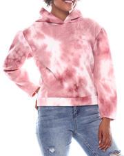 Fashion Lab - Tye Dye Printed Fleece Hoodie W/ Rouched Sleeve-2573351