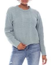 Fashion Lab - Baby Chenille Cable Stitch Crew Neck Pullover Sweater-2573369