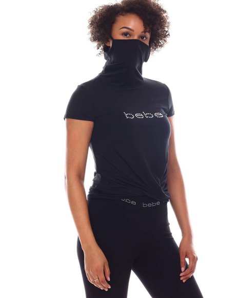 Bebe - S/S High Neck Tee W/ Face Mask /Twist  front