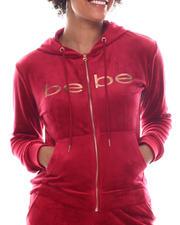 Women - Velour Zip Front Hoodie-2573816