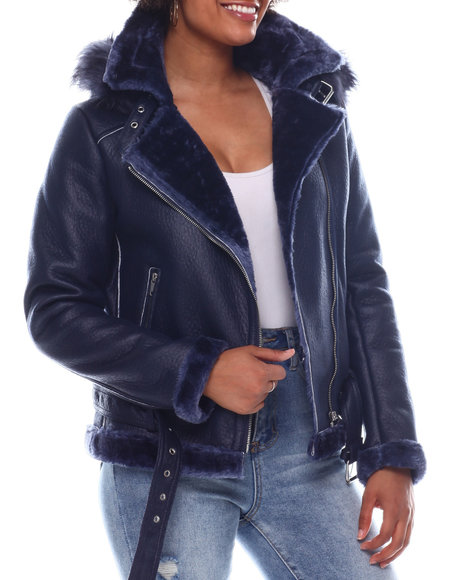Fashion Lab - Shearling Faux Leather Jacket W/Hoodie