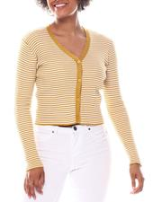 Sweaters - Contrast Trim Vee Neck Front  Button  Detail Cardigan-2573066