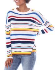 Going-Out-Outfits - Stripe Trim Long Slv Sweater W/Side Slits Hem Detail-2573090