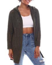 Holiday Shop - Long Sleeve Hoodie Open Cardigan Sweater-2573119