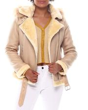 Outerwear - Shearling Faux Leather Jacket W/Hoodie-2573973