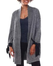 Holiday Shop - Long Slv Bow Cuff Detail Open Cardigan Sweater W/Front Pockets-2573161