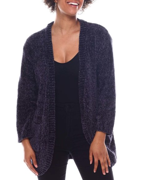 Fashion Lab - Chenille Sweater Long Slv Open Cardigan W/Front Pkts