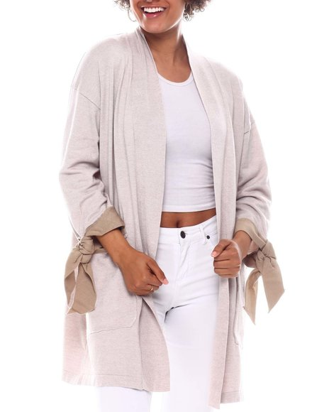 Fashion Lab - Long Slv Bow Cuff Detail Open Cardigan Sweater W/Front Pockets