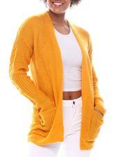 Fashion Lab - Shaker Stitch Long Sleeve Cardigan w/Pockets-2573285