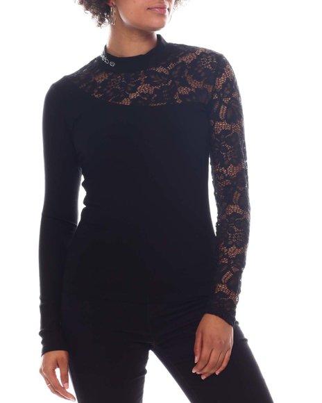 Bebe - Long Sleeve Rib/Lace Top