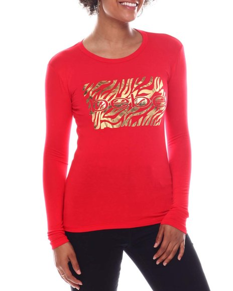 Bebe - Long Sleeve Screen Print T-Shirt