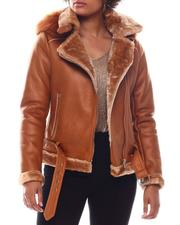 Outerwear - Shearling Faux Leather Jacket W/Hoodie-2573953