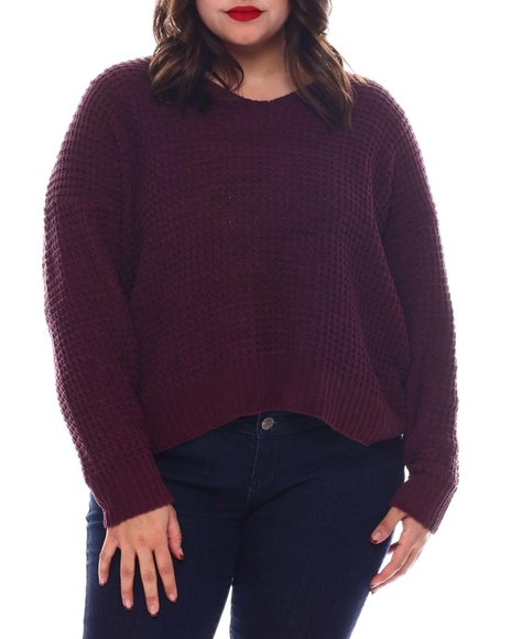 Fashion Lab - PlusV-NK Lace up Back Pullover