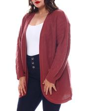 Fashion Lab - Plus Long Sleeve Curved Front Cardigan W/Cables-2574696