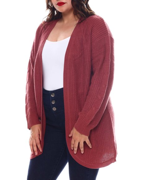 Fashion Lab - Plus Long Sleeve Curved Front Cardigan W/Cables