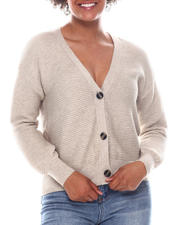 Sweaters - Marble Button V-Neck Crop Rib Cardigan-2573048