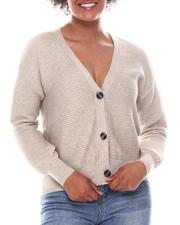Fashion Lab - Marble Button V-Neck Crop Rib Cardigan-2573048