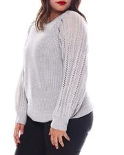 Fashion Lab - Plus Long Sleeve Pull Over W/Pointelle Sleeves-2574625