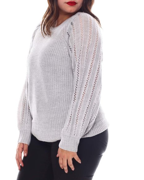 Fashion Lab - Plus Long Sleeve Pull Over W/Pointelle Sleeves