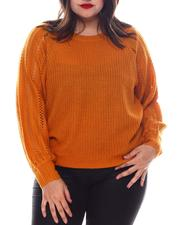Fashion Lab - Plus Long Sleeve Pull Over W/Pointelle Sleeves-2574629