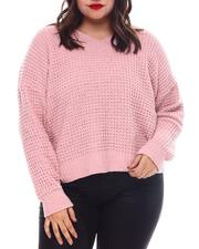 Fashion Lab - Plus V-NK Lace up Back Pullover-2574633