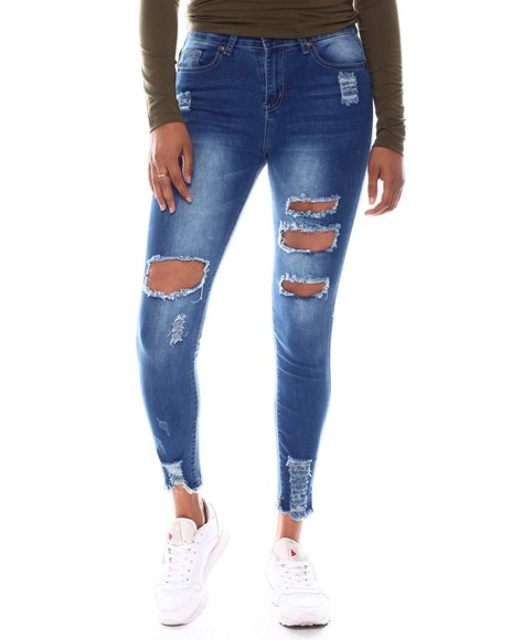Fashion Lab - Open Distressed Chew Hem High Rise Jeans