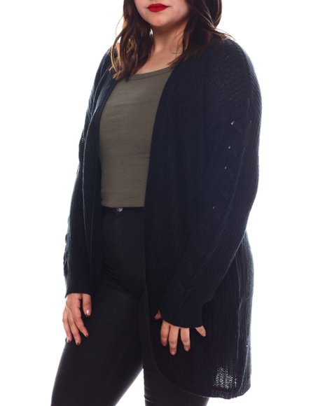 Fashion Lab - Plus Long Slv Curved Front Lace Up Slv Shaker Stitch Cardigan