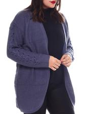Women - Plus Long Slv Curved Front Lace Up Slv Shaker Stitch Cardigan-2574709