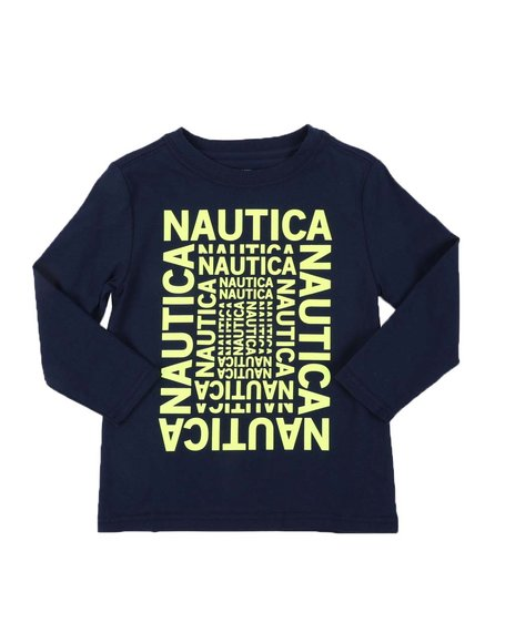Nautica - Logo Maze Long Sleeve Graphic Tee (2T-4T)