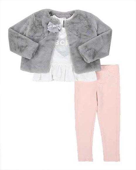 BCBGirls - 3 Pc Faux Fur Jacket, Peplum Logo Top & Leggings Set (7-16)