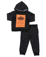 Boys - 2 Pc Crown All Over Print Fleece Hoodie & Jogger Pants Set (2T-4T)-2572397