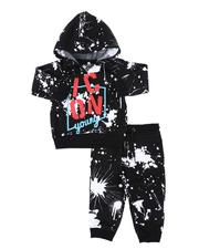 Boys - 2 Pc Paint Splatter Icon Hoodie Pull Over & Jogger Pants Set (Infant)-2572411