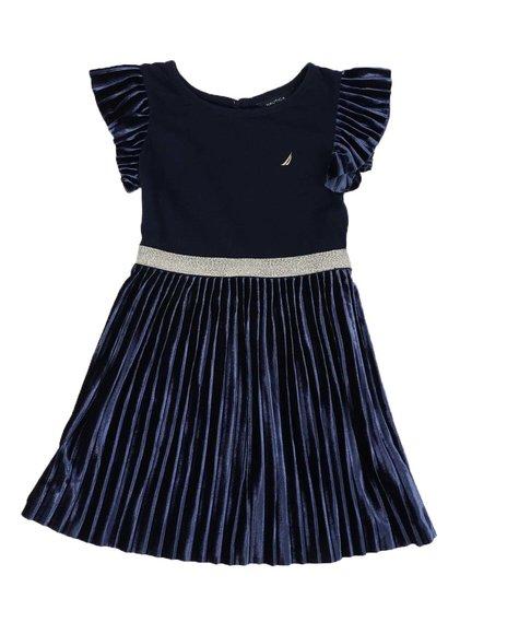 Nautica - Pleated Velour Combo Dress (4-6X)