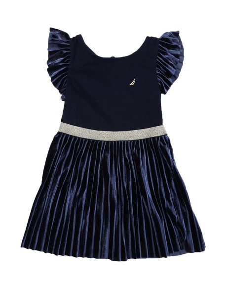 Nautica - Pleated Velour Combo Dress (2T-4T)