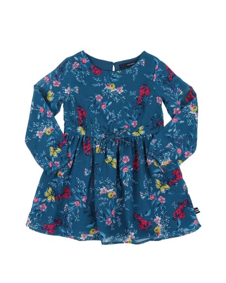 Nautica - Floral Chiffon Long Sleeve Dress (2T-4T)