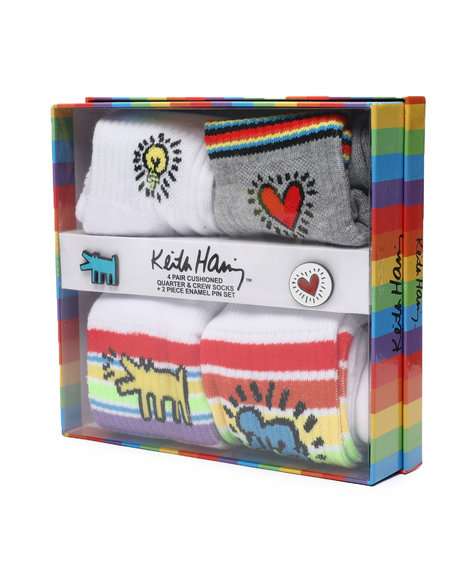 Keith Haring - 4Pk Socks & Enamel Pins Gift Box Set