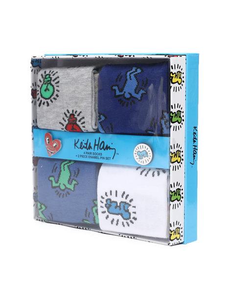 Keith Haring - 4Pk Socks & Enamel Pins Gift Box Set
