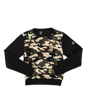 Sweatshirts & Sweaters - Camo Sherpa Front Panel Embroidered Pullover (8-18)-2574542