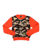 Arcade Styles - Camo Sherpa Front Panel Embroidered Pullover (8-18)-2574552