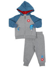Boys - 2 Pc Color Block Dino Full Zip Hoodie & Jogger Pants Set (Infant)-2575066