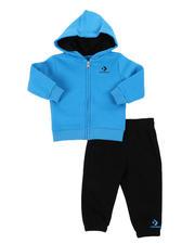 Converse - 2 Pc Stack Wordmark Full Zip Hoodie & Jogger Pants Set (Infant)-2575117