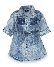 Dresses - Bleach Splatter 3/4 Sleeve Denim Dress (4-6X)-2576106
