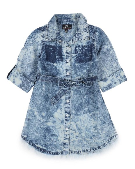 Dollhouse - Bleach Splatter 3/4 Sleeve Denim Dress (4-6X)