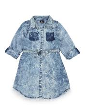 Dresses - Bleach Splatter 3/4 Sleeve Denim Dress (7-16)-2576110