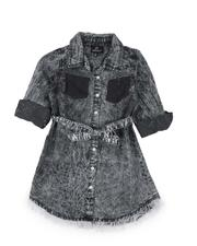 Dresses - Bleach Splatter 3/4 Sleeve Denim Dress (4-6X)-2576114