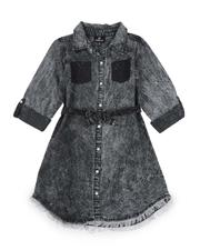Dresses - Bleach Splatter 3/4 Sleeve Denim Dress (7-16)-2576118