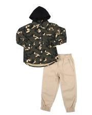 Sets - 2 Pc Camo Hooded Button Down Flannel Shirt & Twill Jogger Pants Set (2T-4T)-2577153