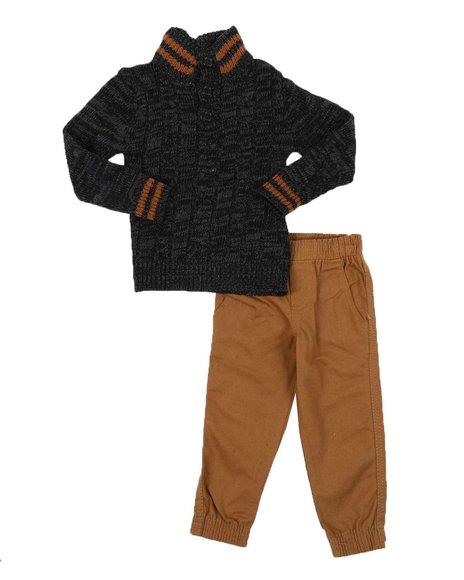 Arcade Styles - 2 Pc Stripe Trim Sweater & Twill Jogger Pants Set (2T-4T)